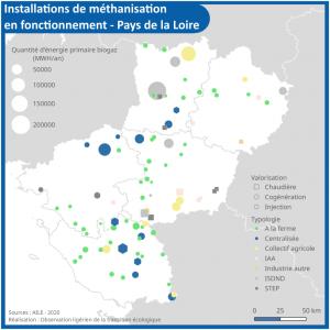 Localisation des installations de méthanisations en fonctionnement en Pays de la Loire.